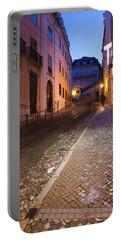 Calcada Da Gloria Street At Night In Lisbon Portable Battery Charger