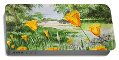 Portable Battery Charger featuring the painting California Poppies by Irina Sztukowski