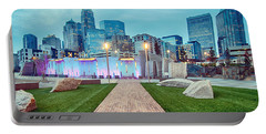 Charlotte City Skyline In The Evening Portable Battery Charger