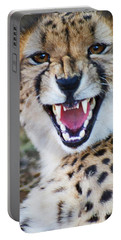 Portable Battery Charger featuring the painting Cheetah With Attitude by Stanza Widen