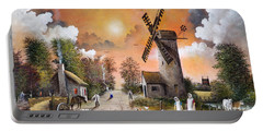 Portable Battery Charger featuring the painting Church View by Ken Wood