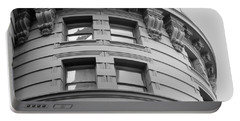 Portable Battery Charger featuring the photograph Circular Building Details San Francisco Bw by Connie Fox