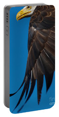 Close-up Of An American Bald Eagle In Flight Portable Battery Charger