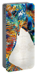 Colorful Elephant Art By Sharon Cummings Portable Battery Charger