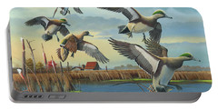 Portable Battery Charger featuring the painting Coming Home by Mike Brown