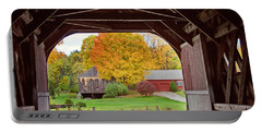 Covered Bridge In Autumn Portable Battery Charger