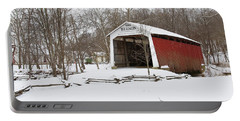 Covered Bridge In Snow Covered Forest Portable Battery Charger