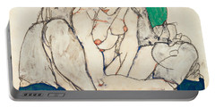 Crouching Woman With Green Headscarf Portable Battery Charger