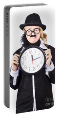 Crying Woman In Disguise Holding Clock Portable Battery Charger