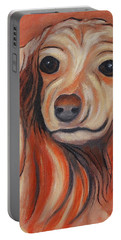 Portable Battery Charger featuring the painting Daschound by Karen Zuk Rosenblatt
