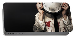 Dead Business Person Holding End Of Time Clock Portable Battery Charger
