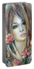Portable Battery Charger featuring the painting Doll With Roses 010111 by Selena Boron