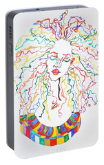 Portable Battery Charger featuring the painting Dreadlocks Piano Goddess by Stormm Bradshaw
