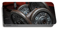 Dumbbells Portable Battery Charger by Verena Matthew