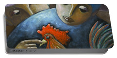 Portable Battery Charger featuring the painting El Gallo by Oscar Ortiz