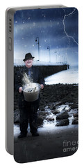 Elderly Fisherman Holding A Bucket Of Fish Portable Battery Charger