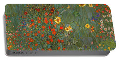 Farm Garden With Sunflowers Portable Battery Charger by Gustav Klimt