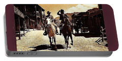 Film Homage Mark Slade Cameron Mitchell Riding Horses The High Chaparral Old Tucson Az C.1967-2013 Portable Battery Charger by David Lee Guss