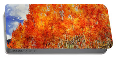 Flaming Aspens 2 Portable Battery Charger by Barbara Jewell