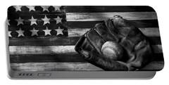 Folk Art American Flag And Baseball Mitt Black And White Portable Battery Charger