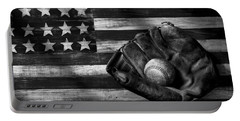 Folk Art American Flag And Baseball Mitt Black And White Portable Battery Charger