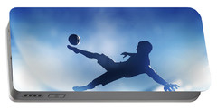 Football Soccer Match A Player Shooting On Goal Portable Battery Charger