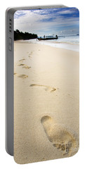 Footprints On Tropical Beach Portable Battery Charger