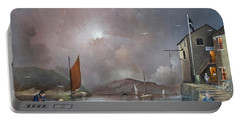 Portable Battery Charger featuring the painting Fowey - Cornwall by Ken Wood