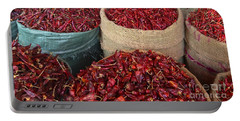 Portable Battery Charger featuring the photograph Fresh Dried Chilli On Display For Sale Zay Cho Street Market 27th Street Mandalay Burma by Ralph A  Ledergerber-Photography