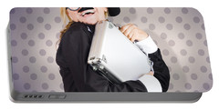 Funny Female Character In Suit Showing Fun At Work Portable Battery Charger