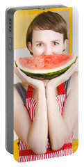 Funny Woman With Juicy Fruit Smile Portable Battery Charger by Jorgo Photography - Wall Art Gallery