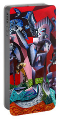 Portable Battery Charger featuring the painting Gaungian Dimensional by Ryan Demaree
