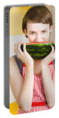Girl With Short Hair Eating Ripe Juicy Watermelon Portable Battery Charger