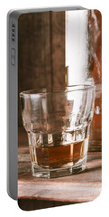 Glass Of Southern Scotch Whiskey On Wooden Table Portable Battery Charger