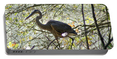 Portable Battery Charger featuring the photograph Great Blue Heron In Bushes by Karen Silvestri