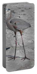 Great Blue Heron On The Beach Portable Battery Charger by Christiane Schulze Art And Photography