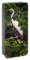 Great White Egret Portable Battery Charger by Chris Flees