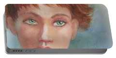 Portable Battery Charger featuring the painting Green Eyes by Marilyn Jacobson