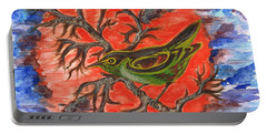 Portable Battery Charger featuring the painting Green Warbler by Teresa White
