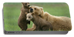 Grizzly Cubs Play With Mom Portable Battery Charger