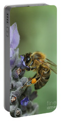 Portable Battery Charger featuring the photograph Happy Bee by Joy Watson