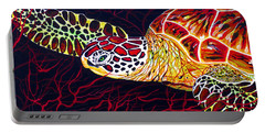 Hawksbill Turtle Portable Battery Charger by Debbie Chamberlin