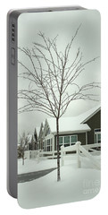 Hello Snow Portable Battery Charger by Roberta Byram