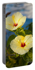 Portable Battery Charger featuring the photograph Bright Yellow Hibiscus by Roselynne Broussard
