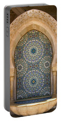 Portable Battery Charger featuring the photograph Holy Water Fountain Hassan II Mosque Sour Jdid Casablanca Morocco  by Ralph A  Ledergerber-Photography
