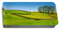 Horse Farm Fences Portable Battery Charger by Alexey Stiop