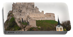 Portable Battery Charger featuring the photograph Hrad Beckov - Castle by Les Palenik