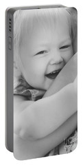 Hugging Mother And Daughter In Black And White Portable Battery Charger