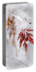 Icy Winter Leaf Portable Battery Charger