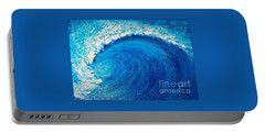 Portable Battery Charger featuring the painting Inside The Wave by Teresa Wegrzyn